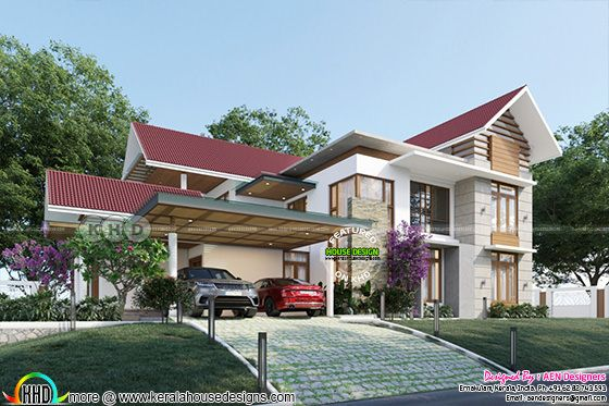2940 Sqft Contemporary Slopped Roof Residence with attic floor