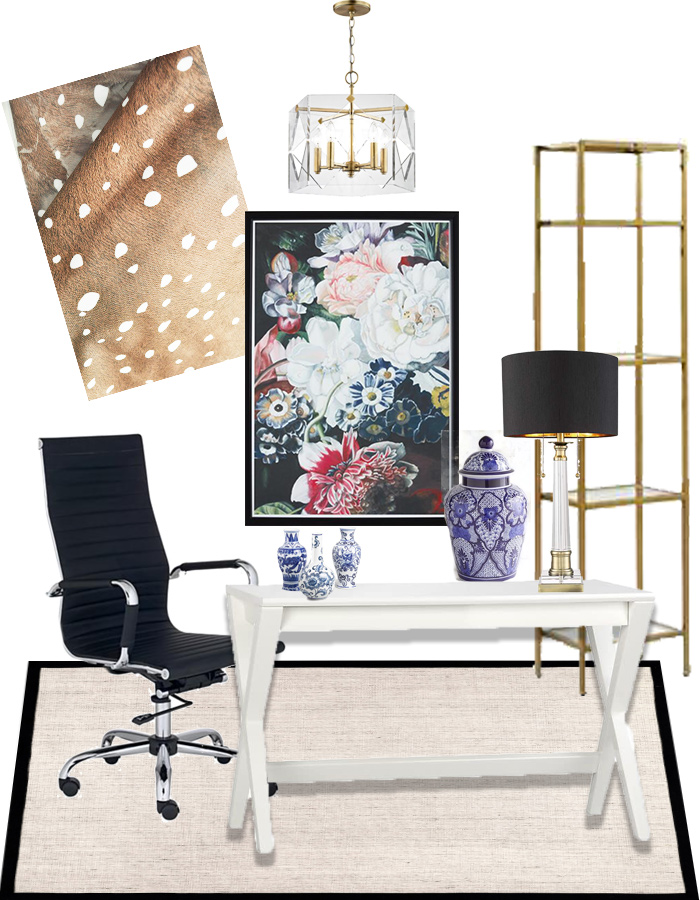 Fawn curtain panels in a glam home office with a white sawhorse desk, brass crystal table lamp, chinoiserie home decor and gold accents.