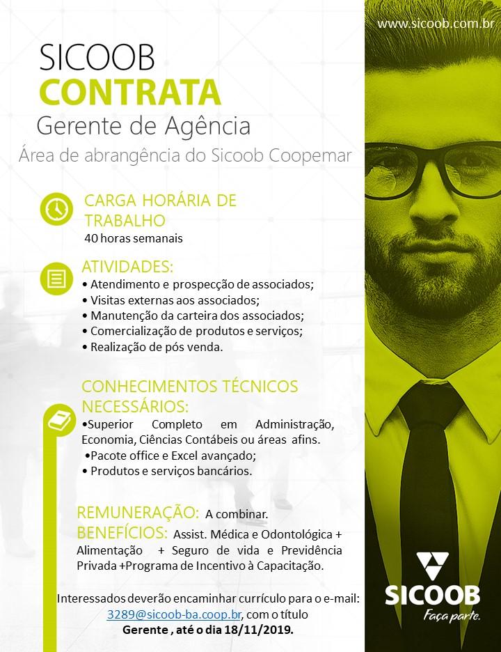 Sicoob contrata funcionário para o cargo de gerente - veja os requisitos na matéria