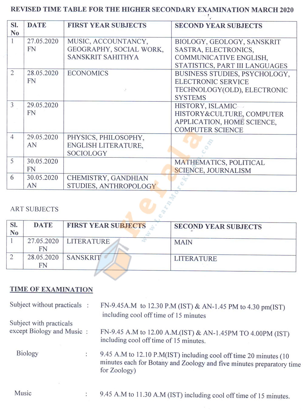 higher secondary new time table