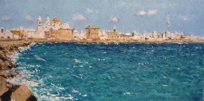 Cuadro al oleo de una vista de Cádiz