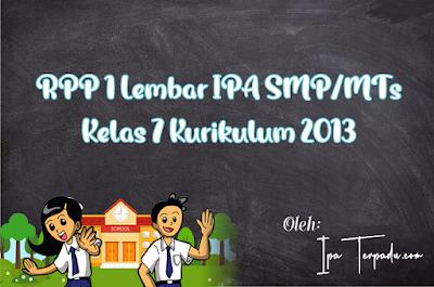 RPP IPA 1 Lembar Kelas VII Tahun 2021