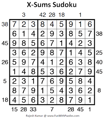 X-Sums Sudoku (Fun With Sudoku #210) Puzzle Answer