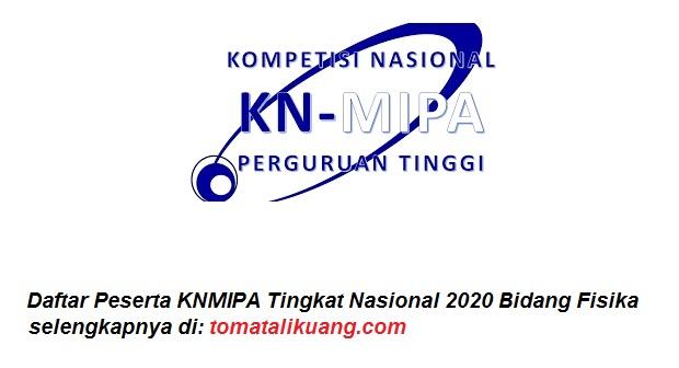 Daftar Peserta KNMIPA Tingkat Nasional 2020 Bidang Fisika tomatalikuang.com
