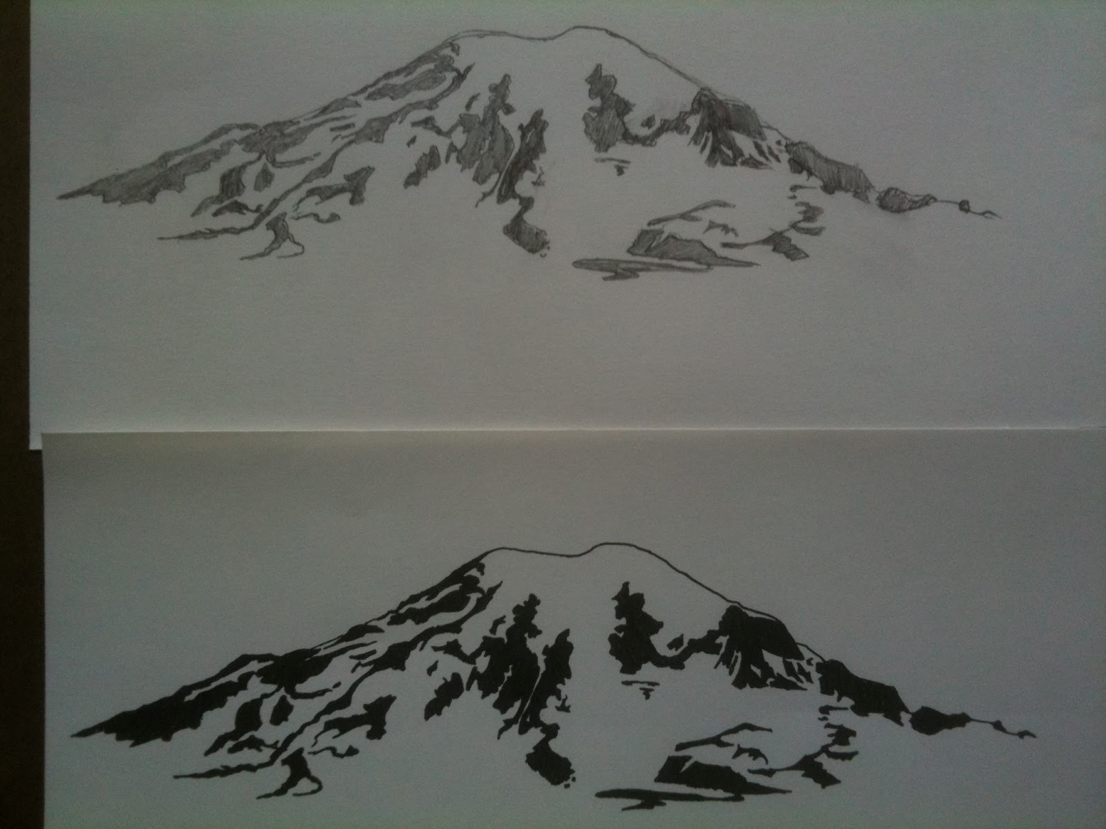 This is a graphic of Sly Mt Rainier Drawing