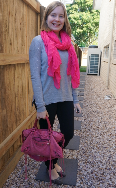 grey polka dot knit with black nodbody denim skinny jeans bright pink accessories scarf balenciaga city | away from blue