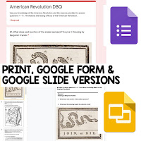 American Revolution DBQ, Early American History DBQ, DBQ Document Based Question Writing Activity, American History Activities