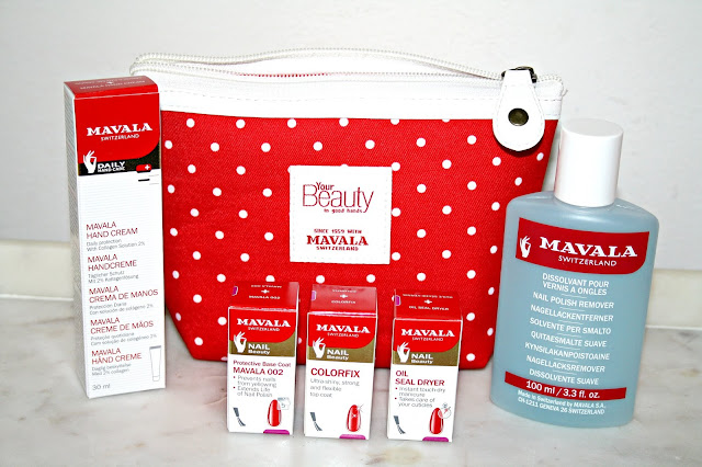 MAVALA'S 60th Birthday Limited Edition Polka Dot Cosmetics Bag Contents
