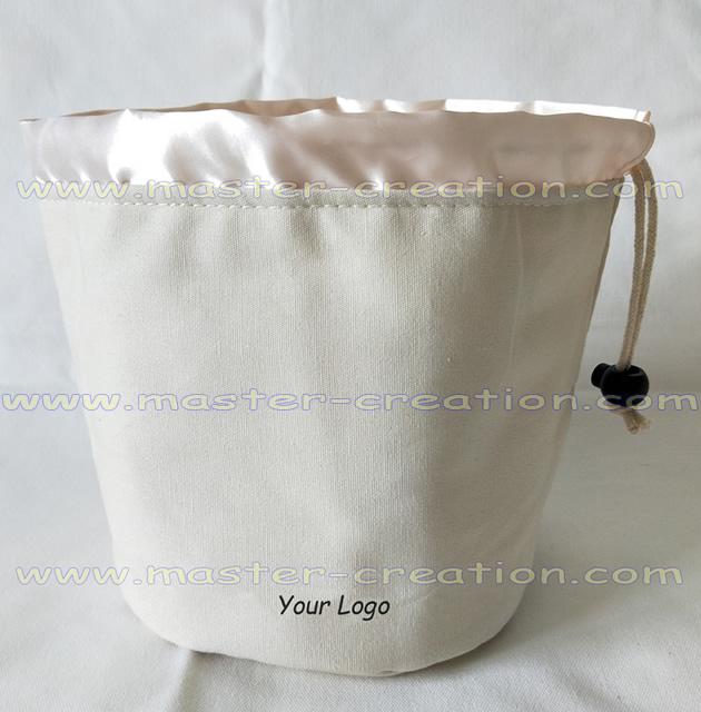 beige drawstring pouch