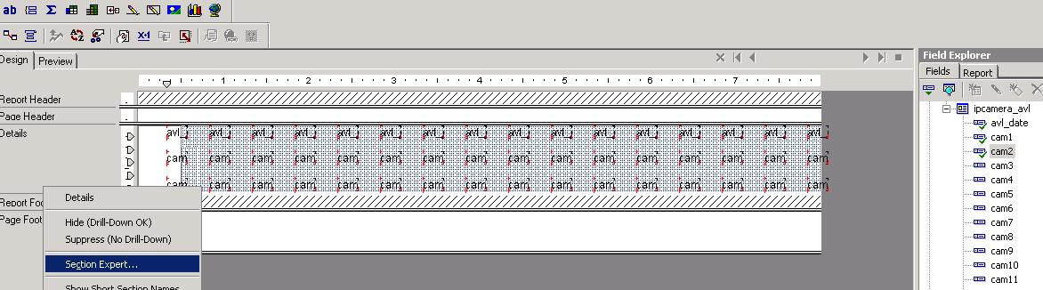 Crystal Report : Show data horizontally (Left to right) i e  columns