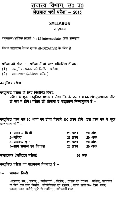 UP Gram Panchayat Adhikari exam pattern question paper