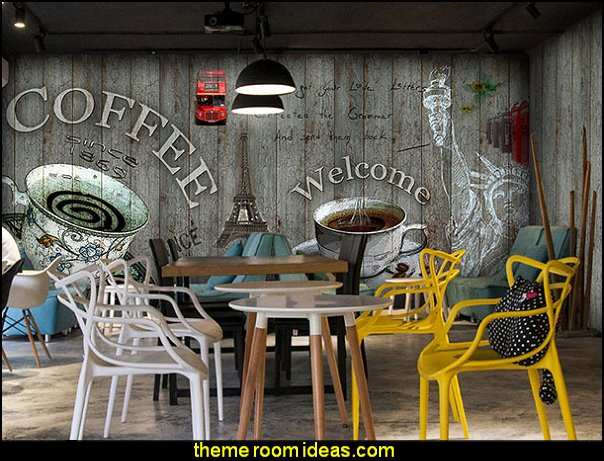 Creative Personality Retro Wood Wallpaper Theme Restaurant Bar Coffee Shop Ktv Box Large Wallpaper Mural