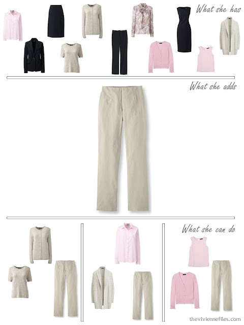 adding a pair of taupe pants to a 4 by 4 Wardrobe
