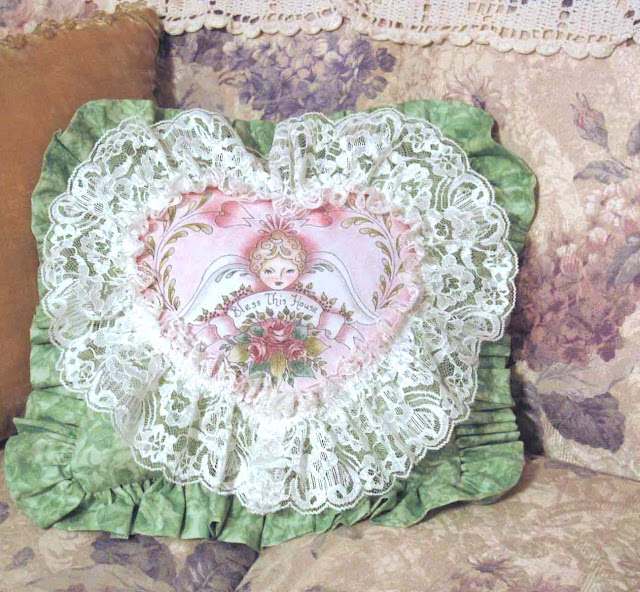 Hand Tinted Pillow with Angel and Roses