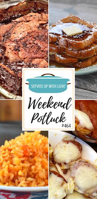 Weekend Potluck featured recipes include Pepperoni Pretzel Pizza Bites, Spanish Rice, French Toast, Old Fashioned Hot Fudge Sundae Cake & more.