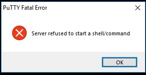 Java Solutions: PuTTY: Server refused to start a shell/command