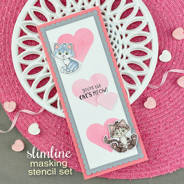 Kitten Slimline Valentine card by Jennifer Jackson | Smitten Kittens Stamp set, Slimline Masking Hearts Stencil Set, Slimline Frames & Portholes Die Set by Newton's Nook Designs