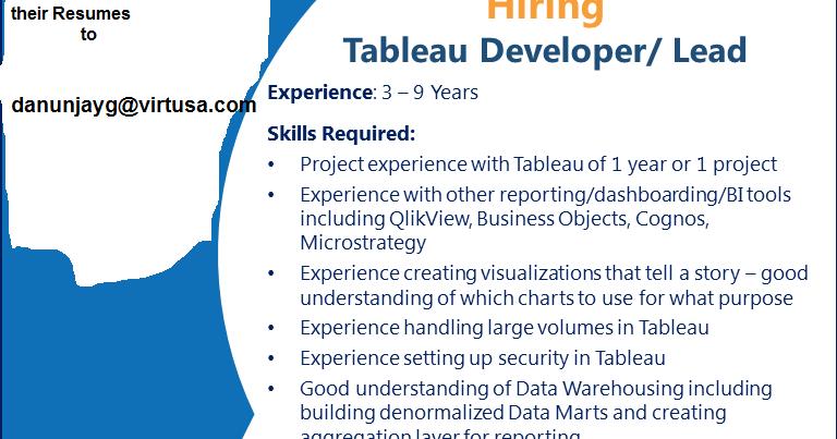 jobsoftheday: Virtusa Hiring Tableau Developer/Lead