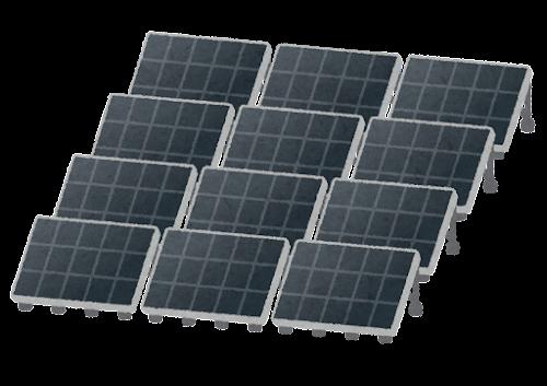 黒いソーラーパネルのイラスト(複数)