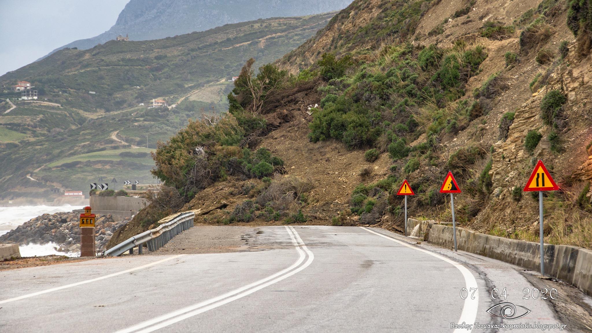 Μεγάλα προβλήματα προκλήθηκαν και στον δρόμο Κύμης – Αλιβερίου.