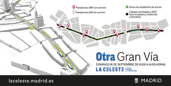 Cortes de tráfico privado en la Gran Vía, Paseo del Prado-Recoletos y en los distritos. Domingo 18 de septiembre