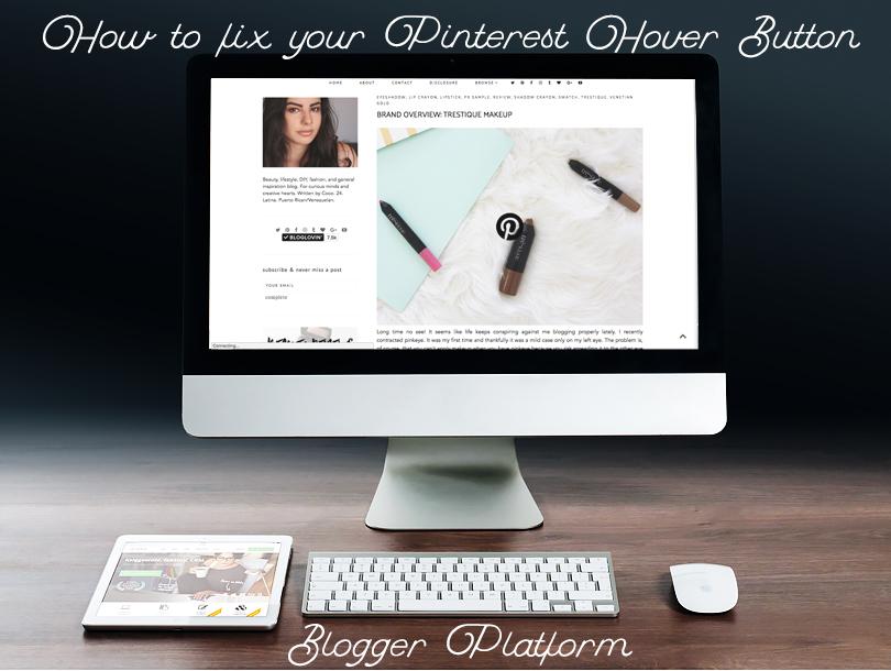 how to fix custom pinterest share hover button 2016 blogger platform tutorial
