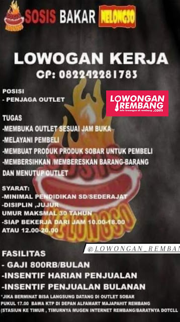 Lowongan Kerja Penjaga Outlet Sosis Bakar Nelongso Rembang