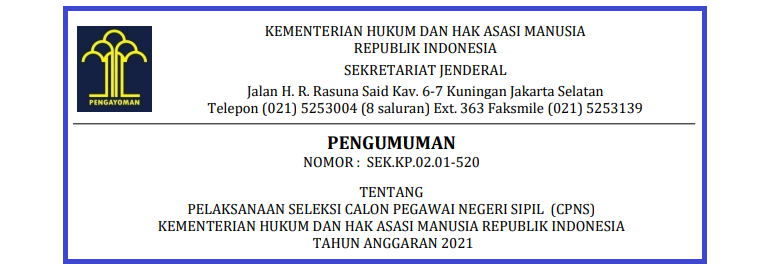 Rincian Formasi CPNS KEMENKUMHAM Tahun 2021 Tersedia 3876 Formasi Untuk Lulusan SMA SMK Sederajat