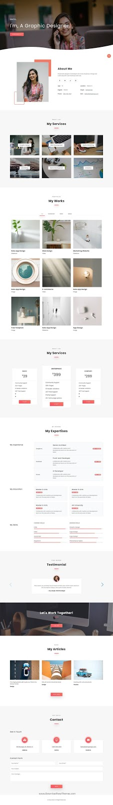 One Page Personal and Agencies Template