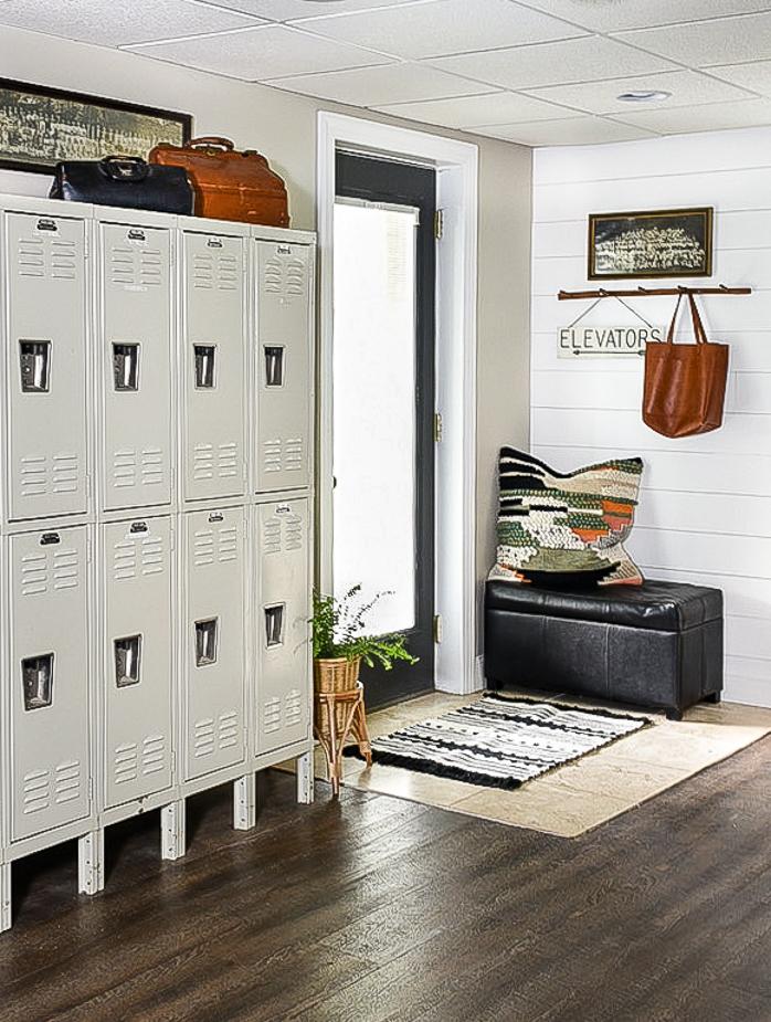 Basement lockers and vintage decor