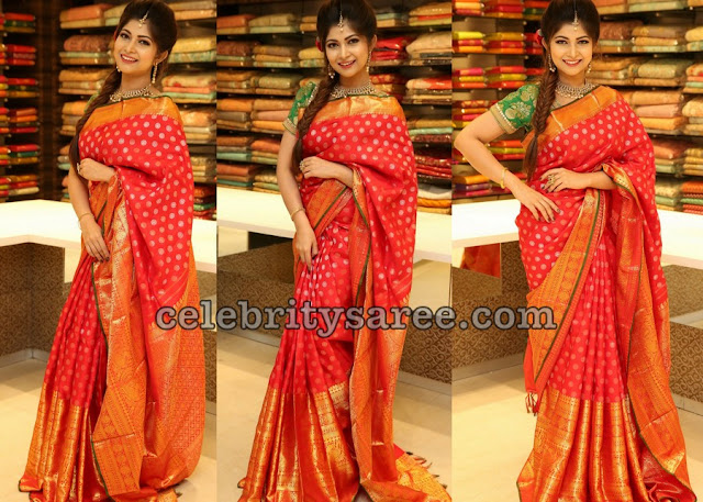 Srijitha Ghosh Red Kanjeevaram Saree