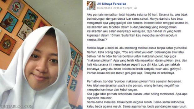status afi nihaya faradisa yang viral di media sosial