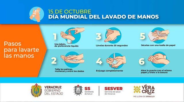 Pasos para el lavado de manos recomendado por Consultorio Dentalife en Veracruz