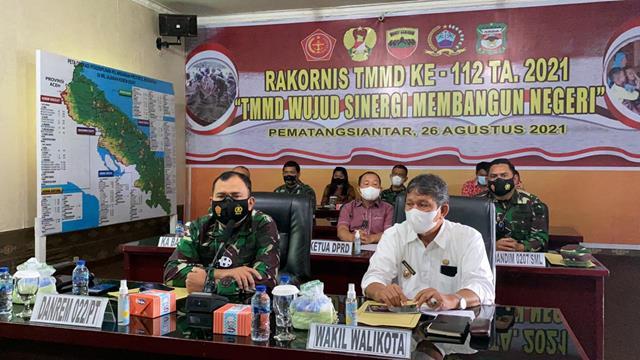Dandim 0207/Simalungun Hadiri Rapat Koordinasi Teknis TMMD Ke-112 Tahun 2021 secara Virtual (Vicon)