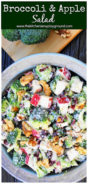 Broccoli & Apple Salad ~ Loaded with fresh broccoli & apples in a creamy Greek yogurt dressing, this broccoli salad is packed with great flavor! #broccolisalad #apples #applesalad  www.thekitchenismyplayground.com