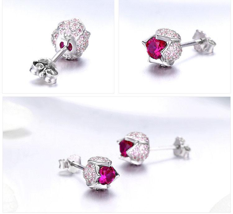 粉紅鬱金香鋯石 925純銀耳環