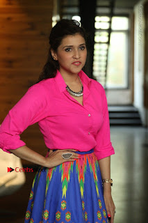 Actress Mannar Chopra in Pink Top and Blue Skirt at Rogue movie Interview  0049.JPG