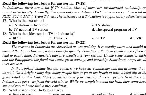 Soal UAS Bahasa Inggris SMP Kelas 9 Semester 1