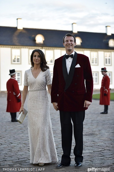 Denmark's Princess Marie and Prince Joachim arrive for the dinner at Fredensborg Castle on the occasion of Queen Margrethe's 75th birthday