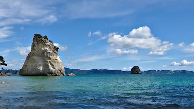 Landscape, Rocks, Sea, Waves, Horizon, Clouds