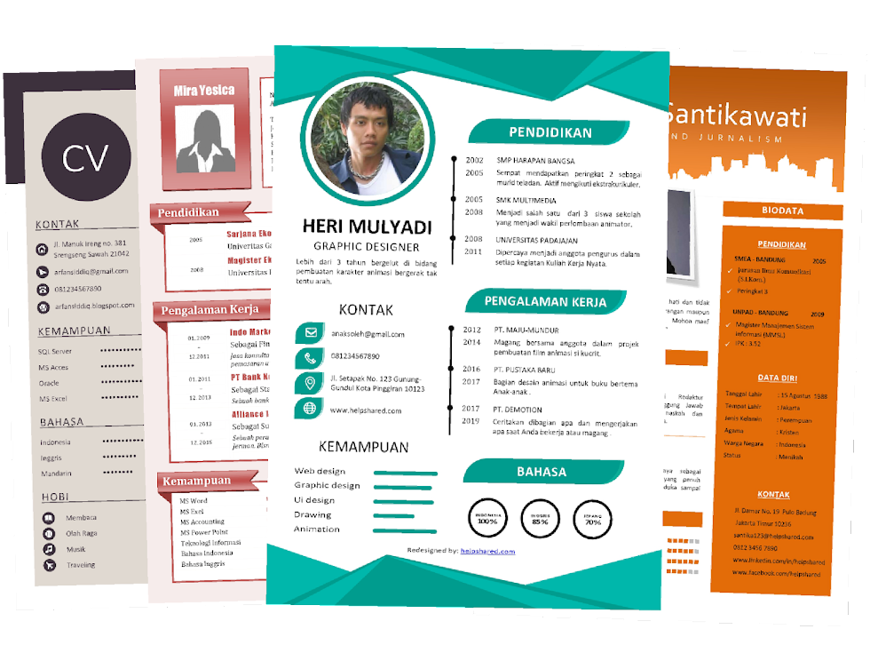 Contoh CV Lamaran Kerja desain Kreatif Menarik (Word+Pdf)