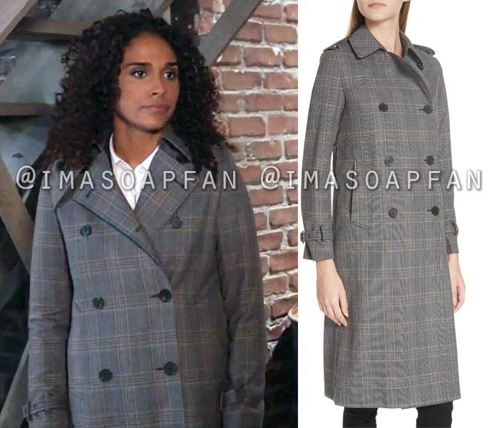 Jordan Ashford, Briana Nicole Henry, Long Grey Plaid Coat, General Hospital, GH
