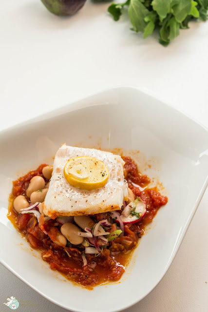 weißer Bohnensalat mit Fischfilet