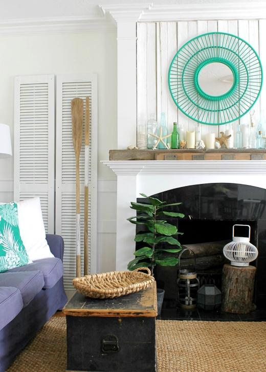 Coastal Summer Fireplace Mantel Decorating Ideas