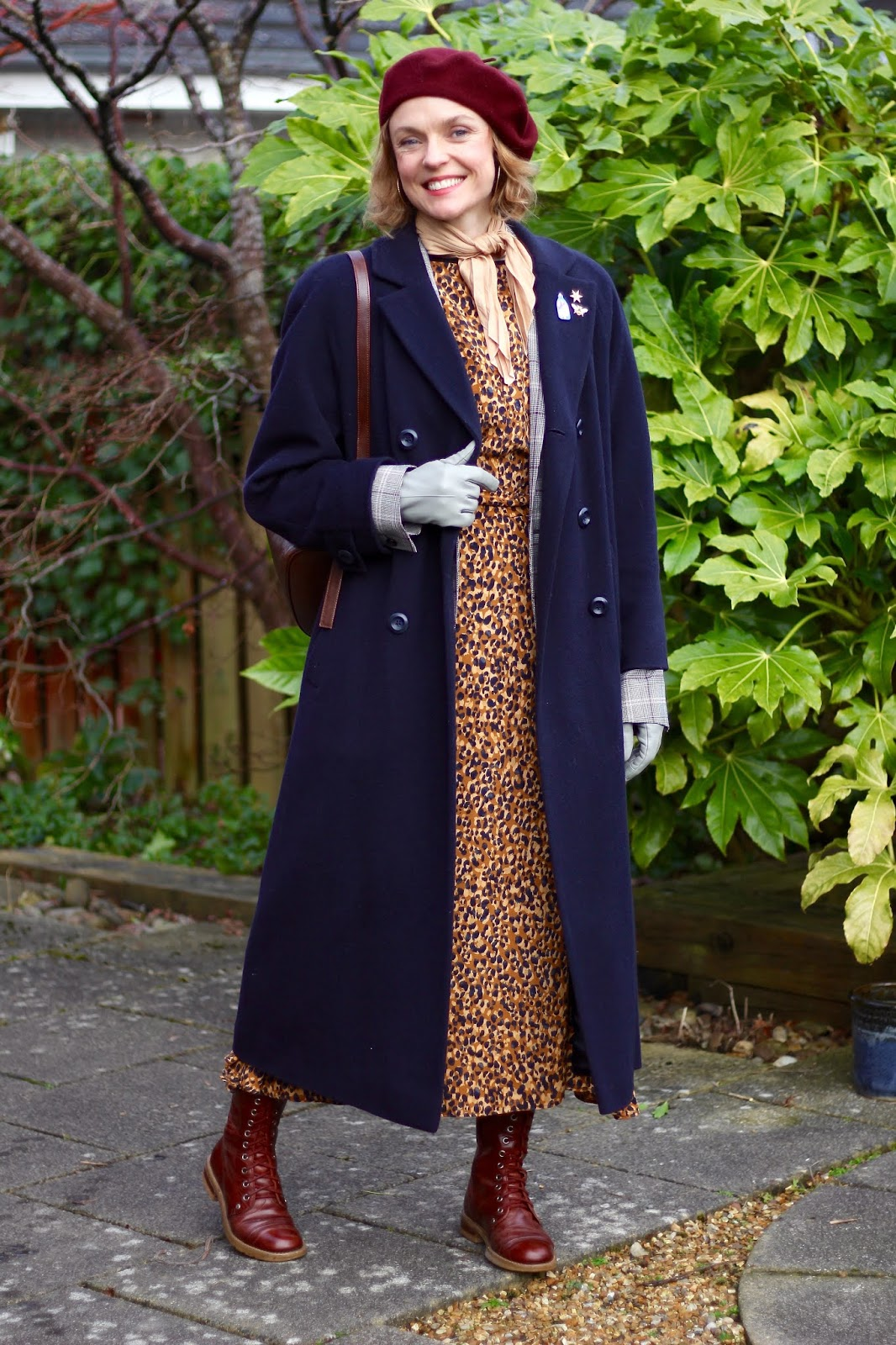 Navy, Burgundy and Leopard | Winter Outfit | Fake Fabulous