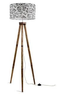 Craftter New Handmade Drum Shape Beautiful Printed White Fabric Shade Wooden Tripod Floor Lamp