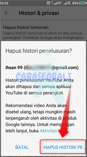 cara menghapus daftar pencarian di youtube android