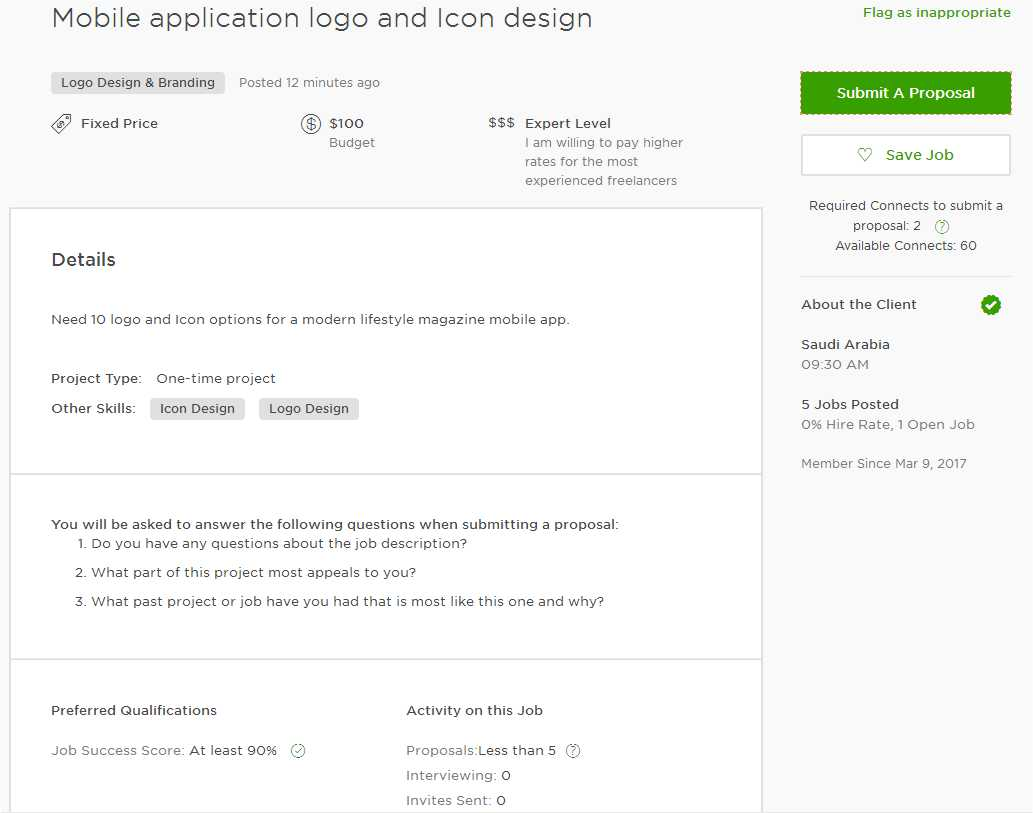 Upwork Cover Sample For Mobile App Android App Ios