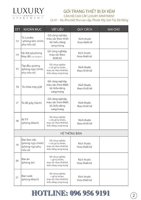 Danh mục vât liệu bàn giao Luxury Apartment Đà Nẵng