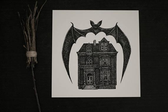 dark art, bat, haunted house